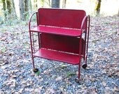 Vintage Rare 1950s New York Industrial Folding Deco Metal Antique Medical Laboratory Bar Cart Red Paint Danish Mid Century Modern Table