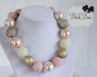 PINK DUCHESS Necklace, Princess Chunky Necklace, Pink, Gold & Ivory Beads, M2M WDW, Child, Toddler, Size Bubblegum Gumball Beaded Necklace