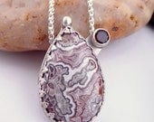 Crazy Lace Agate and Garnet Sterling Silver Necklace