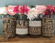 Set of 4 Quart Size Burlap and Lace Covered Mason Jars, Mason Jar Vases, Mason Jar Centerpieces, Burlap and Lace, Wedding Centerpieces