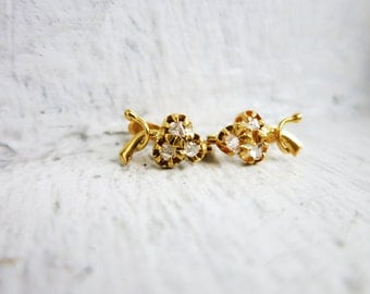 RESERVED- Tiny Antique Fruit Earrings for Little Girl in 10K Gold with Rough Cut Diamonds from the Philippines