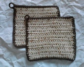 Dishcloths Set of Two in Natural Tones with Loop for Hanging Crochet Dish Cloths