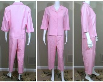 BRIGGS Pink Pant Suit Set Size 14P Petite
