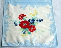"""Vintage Poppy & Blue Bell Tea Towel 17"""" x 31"""" Cotton Kitchen Tea Dish Towel Dishtowel Hand Bath Fingertip Pillowcover Retro Floral Design"""