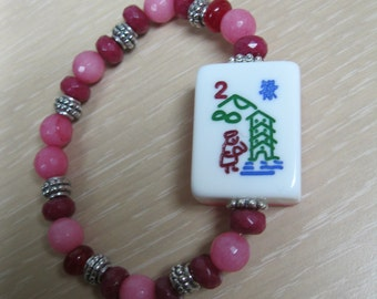 "Mahjong bracelet pink and white frosted "" flower "" tile"
