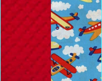 Airplane Baby Blanket with Cotton Minky backing 19 colors Carseat Blanket Crib Blanket Minky Blanket