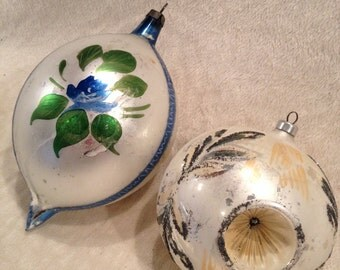 Two Large Vintage Hand Painted Christmas Ornaments