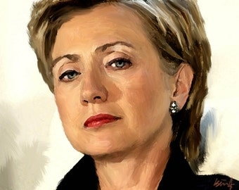 "HILLARY CLINTON Portrait Modern Abstract Painting on Giclee Canvas 16""x20"" with mat frame. Signed. Impressionistic art"