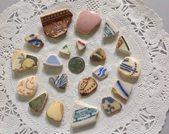 Assorted Pottery/China Surf-tumbled Beach Finds Beautiful colors and designs