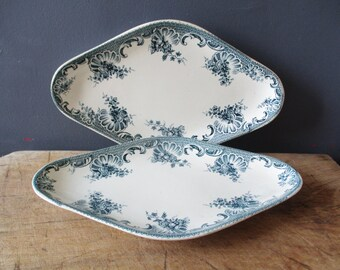 2 antique french little dishes, Vintage dish, France, 1920, Blue transferware, Home decor, Kitchen, Raviers, Plats