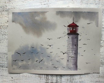 Lighthouse original watercolor painting 10x14 yellow grey red nautical