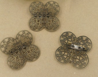 10pcs Brass  plating antique bronze Filigree brooch cab connector