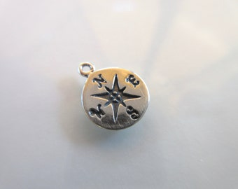 Sterling Silver 925 round Compass charm 9mm round star compass maritime protection symbol guidance and direction charm