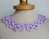 Lilac Peter Pan Collar, Cotton Crochet Collar, Purple color, Lace Collar, Detachable Collar Necklace,Mothers day gift, Valentines gifts ,