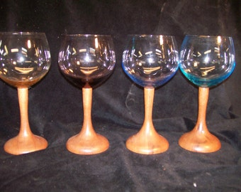 Wine Glasses, Set of 4 Multi Colored Red Wine Glasses With Mahogany Stems