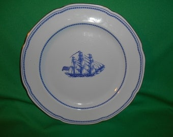 """One (1), 10 1/4"""" Dinner Plate, from Spode, in the Trade Winds Blue Pattern."""