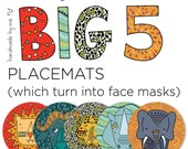 Big 5 Placemats which turn into face masks (set of 5-mixed)
