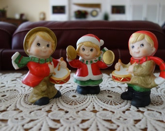 Vintage Christmas Figurines, Boy and Girl, Homco, Ceramic, Musicians, Collectibles, Home Decor, Red White Green, Knick Knacks, Set of 3