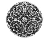 2 Dark Round Renaissance 1 - 1/8 inch ( 28 mm ) Antique Silver Pewter Metal Buttons
