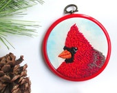 Red Cardinal Bird Art, Woodland Country Decor, Gift for Bird Lovers, Rustic Home Decor, Embroidery Hoop Art, Cardinal Christmas Ornament