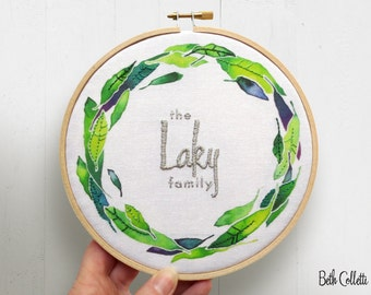Family Name Personalized Wedding Gift, Cotton Anniversary Gift, Gift for Newlyweds, Second Anniversary, Modern Rustic Embroidery Hoop Art