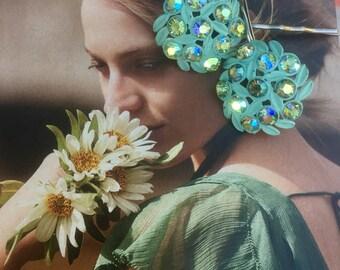 Decorative Hair Pins Aqua Turquoise Blue Celluloid AB Aurora Borealis Rhinestone Bobby Pins