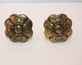 Vintage Set Of 2 Upcycled, Recycled Brass Knobs In the Shape of a Flower, Cabinets, Drawer Pulls, Mid Century, Decorative, DIY Project