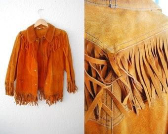 Vintage Womens Tan Suede Fringe Boho Hippie Tassel Fitted Coat