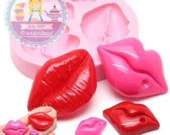 Set of 4 Sexy Lips Flexible Silicone Mold 726m Fondant Royal icing Chocolate Gumpaste Candy FIMO Polymer Clay BEST QUALITY