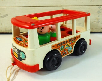 Vintage Fisher Price Mini Bus and Three Fisher Price People