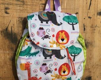 Kids Backpack // Toddler Backpack // Elephant Giraffe Monkey Lions Toddler Back Pack // Elephants/Backpack