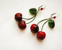 Cherry Earrings Red, cherry jewelry, bright jewelry, handmade, pin-up red jewelry, cherries