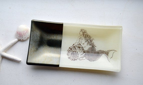 Mermaid Glass Plate: 5x10 rectangle dish silver/gold iridescent and ivory glass