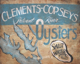 Patuxent River Oysters   Print, Maryland oyster tin art