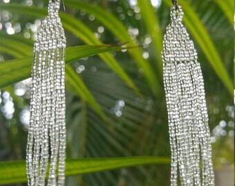 Long shimmery beaded earrings
