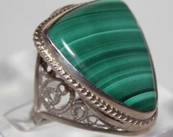 Malachite Ring, 7 size, Russian Jewerly  FREE SHIPPING
