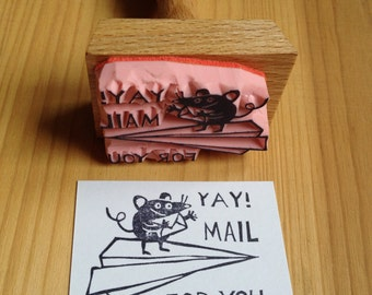 "mouse stamp ""Yay! Mail for you!"""