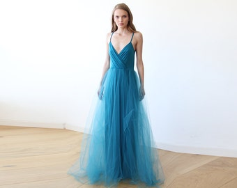 Teal blue tulle maxi dress, Fairy tulle maxi dress , Bridesmaids straps maxi blue gown 1053