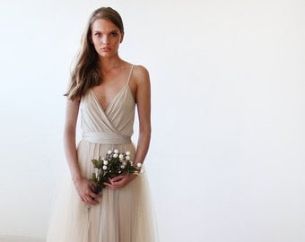 Champagne tulle maxi dress, Bridesmaids straps maxi gown, Fairy tulle maxi dress 1053