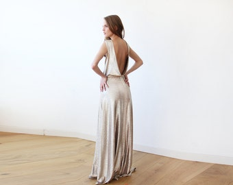 Light Gold backless maxi sleeveless dress, Open back maxi bright gold gown