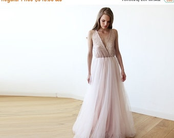 Pink sequins tulle gown, Maxi Tulle and sequins pink gown