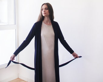 Dark blue maxi knit autumn coat, Knitted maxi blue cardigan with pockets 2012