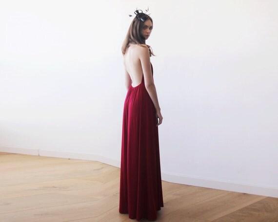 Bordeaux licou maxi robe robe dos nu maxi rouge par for Robe maxi bordeaux pour mariage