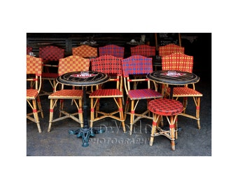 Paris Café, Rattan Chairs, Bistro Photograph, Red Plaid, Sidewalk Cafe,  French