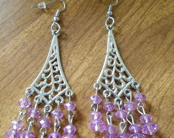 Purple and Silver dangles