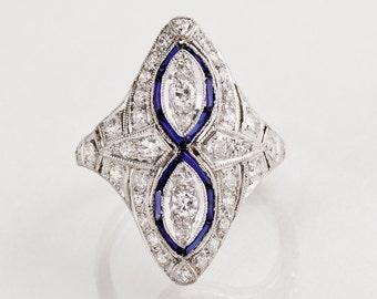 Antique Ring - Antique Art Deco Platinum Diamond and Sapphire Ring