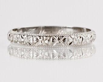 "Antique Wedding Band - Antique 18k White Gold Engraved ""1927"" Wedding Band"