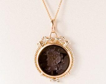 Antique Necklace - Antique 1900's 14k Rose & White Gold Carved Carnelian Pendant