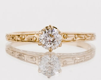 Antique Engagement Ring - Antique 1910's 14k Yellow Gold Diamond Solitaire Engagement Ring