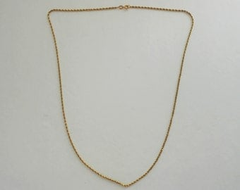 14K Solid Gold Twisted Rope Chain Necklace 20 Inches